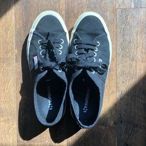 Black Superga sneakers size 8